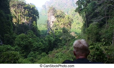 man backside view looks at canyon cliffs in jungle -...