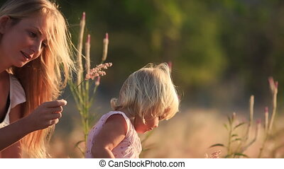 blond mother shows small daughter field flowers in meadow -...