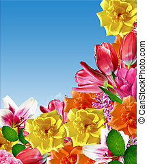 holiday card. flowers roses, tulips, lilies