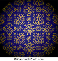golden royal blue - Blue and gold royal wallpaper with...