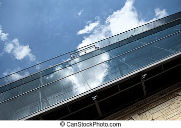 Footbridge - Glass footbridge on an old stone building