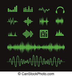 Sound waveforms. Sound waves and musical pulse icons - Sound...