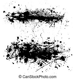 splat string - Two abstract black and white ink splat with...
