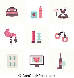 sex related set of flat icons vector style