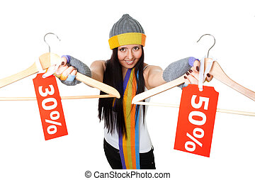 Winter sale great deal - Woman offer clothes winter sale...