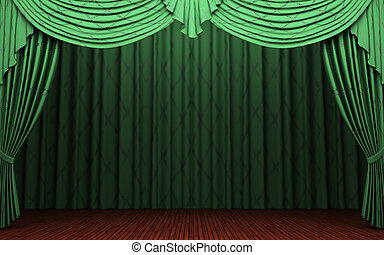 green velvet curtain opening scene made in 3d