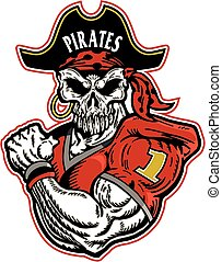 pirate football player with skull face