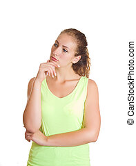 Thoughtful young girl on a white background