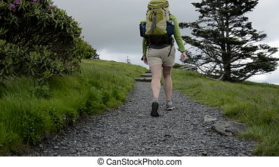 Hiker Passes By - A female hiker wearing a pack passes the...