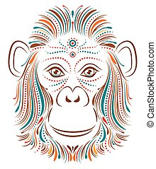 monkey on white background - Vector illustration of abstract...