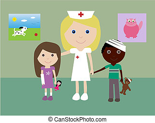 Nurse with children - Vector illustration of a pediatric...