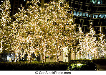 christmas night scenes - beautiful christmas decoration...