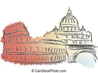 rome. abstract skyline isolated on a white background