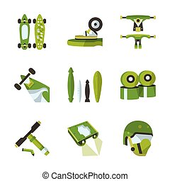 Green flat vector icons for longboard accessories - Flat...