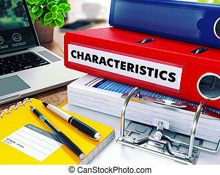 Characteristics on Red Ring Binder. Blurred, Toned Image. -...