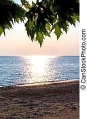 Sandy beach, sea during the sunset background - Sandy beach,...