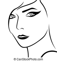 Abstract female face, sketch drawing vector outline