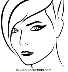 Abstract female beautiful head - Abstract female head with...