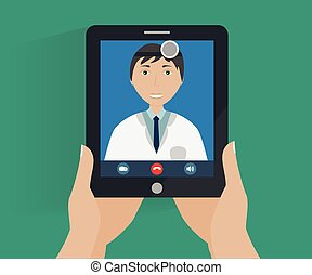 Hands holds tablet with smiling doc - telemedicine...