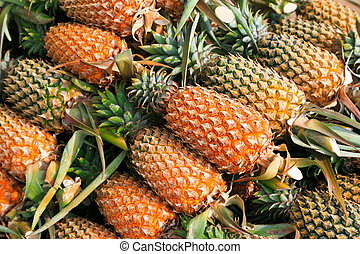 Pineapples - A lot of pineapple fruit background, Phuket,...