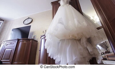 wedding dress bride in the room - wedding dress with lace on...