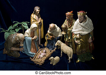 Nativity scene - A complete Nativity scene including the...