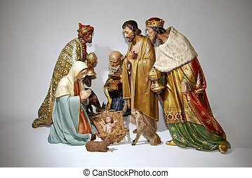 Figurine nativity Christmas scenes.