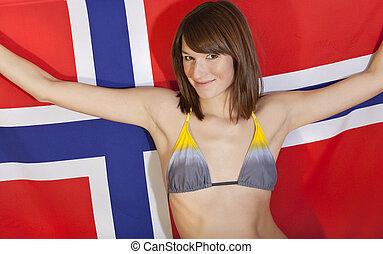norvégien, sur, femme, drapeau
