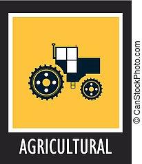 10, 簡單,  EPS, 矢量, 農業, 拖拉机, 圖象
