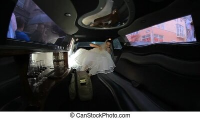 Bride Getting Into Limo - Two frames from the inside of the...