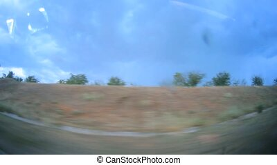 Moving Roadside From Inside of the Car - Footage from inside...