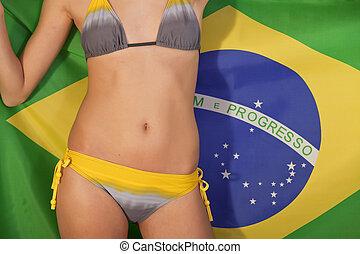 sur, femme, drapeau, brésilien