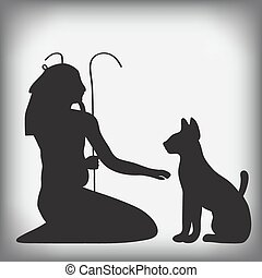 Egyptian cat God nun silhouettes - vector illustration icons