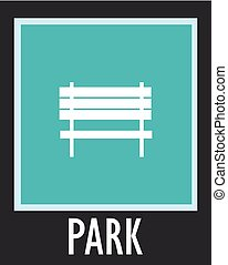 Vector simple icon for rest. Bench in park.