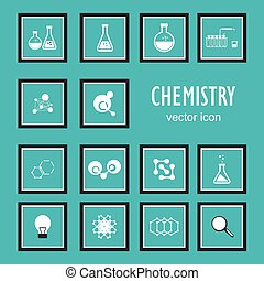 Set vector icons in chemistry, biology, medicine