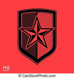 Vector shield with a red pentagonal Soviet star, protection...