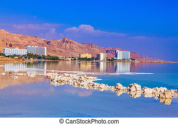 Decrease in water level in the Dead Sea The evaporated salt...