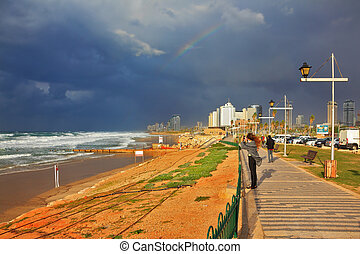 Storm in promenade in Tel Aviv - Storm and rainbow in the...
