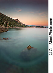 Coast during sunset in Krk, Croatia