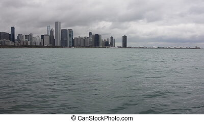 Lake Michigan with Chicago Skyline - The water of Lake...