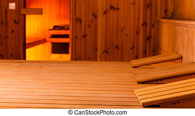 interior of a finnish sauna - Beauty health spa and...