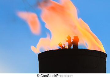 Movement of fire flame vigil light outdoor