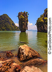 Whimsical island in the Andaman Sea. James Bond Island....