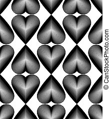 Black and white illusive abstract seamless pattern with...