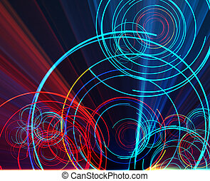Glowing circles - Glowing neon abstract circles, laser disco...