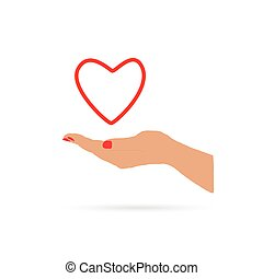 heart in hand love vector