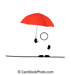 man icon with umbrella red vector on white