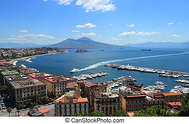 Naples gulf - view of the Gulf in Naples with the Egg Castle...