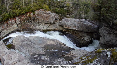 Linville Falls Plung Fisheye - A fisheye view of water...