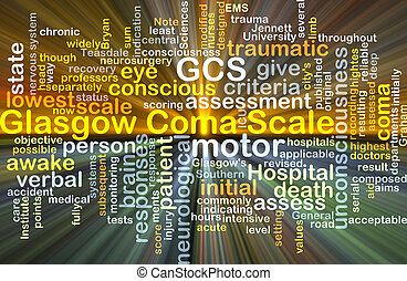 Glasgow Coma Scale GCS background concept glowing -...